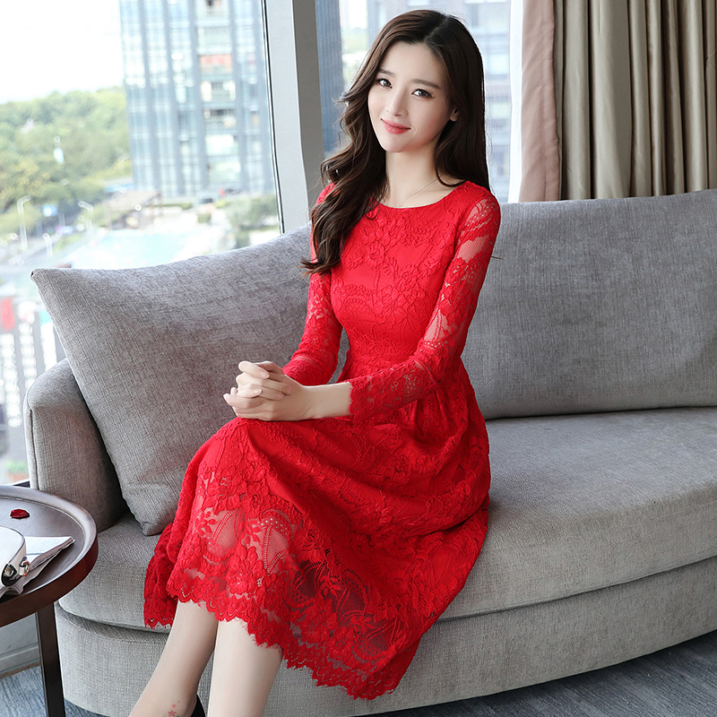 Pengpious autumn and winter long sleeve lace dress for office lady long sleeve o neck back