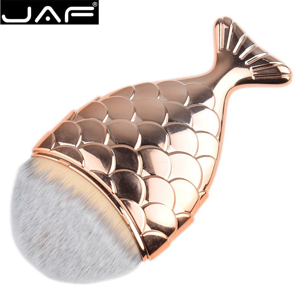 Mermaid Makeup Liquid Foundation Brush - Single Synthetic Rose Gold Fish Cream Make Up Brush