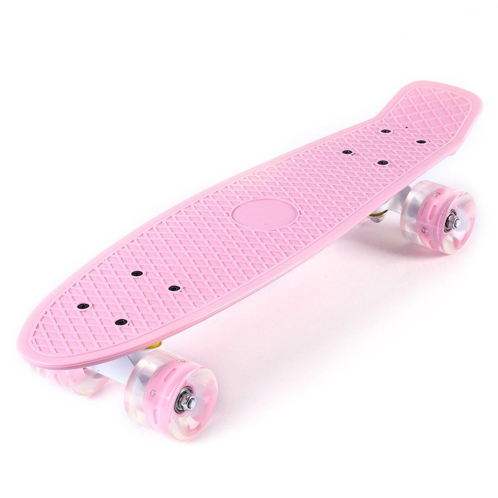Mini planche à roulettes de poisson de couleur Pastel de Longboard de Style banane de croiseur de 22 pouces avec des roues clignotantes de LED - 2