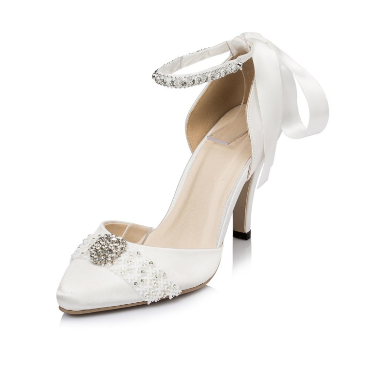 ФОТО Zapatos De Boda Women's Pointed Toe Party Prom Crystal Two Pieces Bridal Ankle High Heels Wedding Pumps Stilettos JYG060 JJ