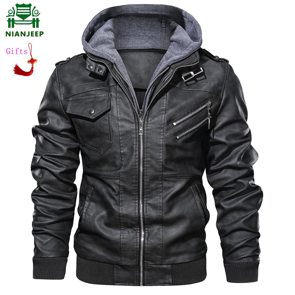NIANJEEP Zipper Oblique Motorcycle Leather Jacket Men Brand Military Autumn Men Pu Leather Jackets Coat US Size 3XL Dropshipping