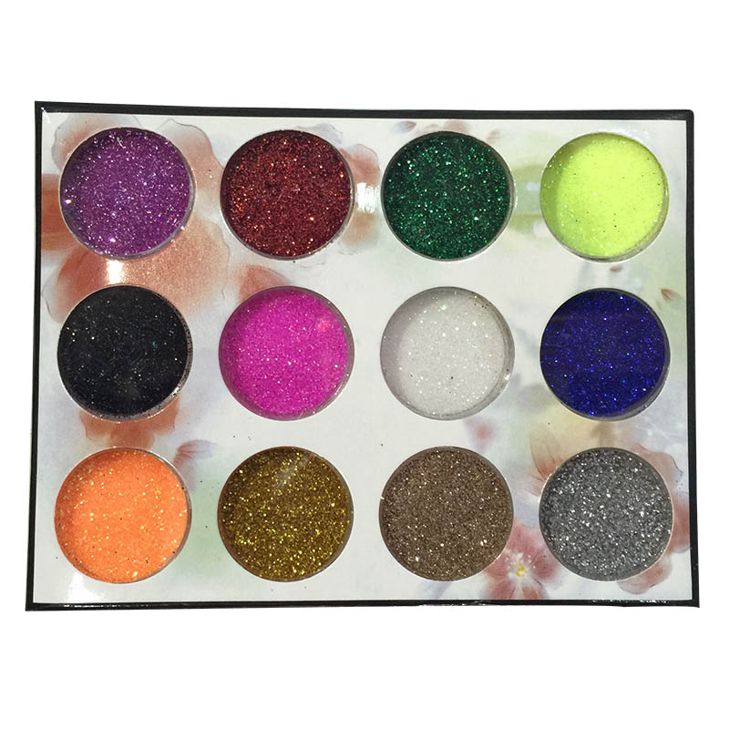 cosmetics 12 colorEye shadow theatre studio multicolor small sequins highlights powder nail glitter sequins children wear makeup