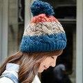 Мода Зима женская Мягкий Толстый Теплый Кабель Ручной Лоскутное Трикотажные Шапочки Шляпа с Пом Пом