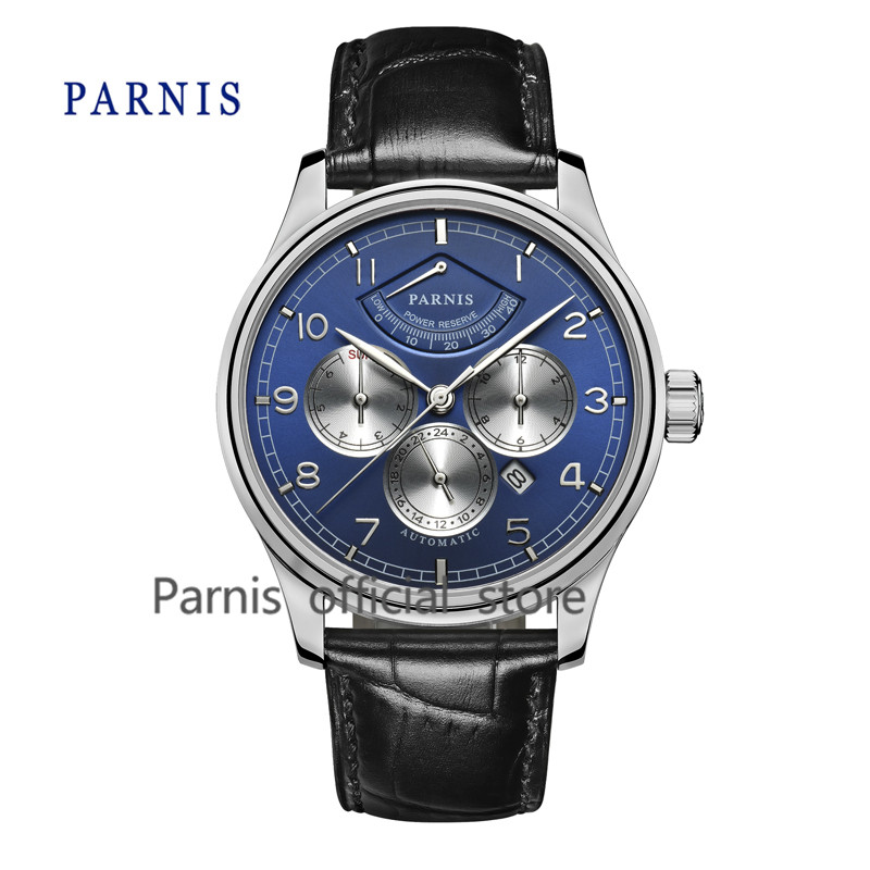 Casual Watch Men 43mm Parnis Automatic Mechanical Watches Power Reserve Blue Dial Silver Case Business Wristwatch Auto Date  casual 43mm parnis automatic power reserve white dial blue numbers silver watch case business watch men