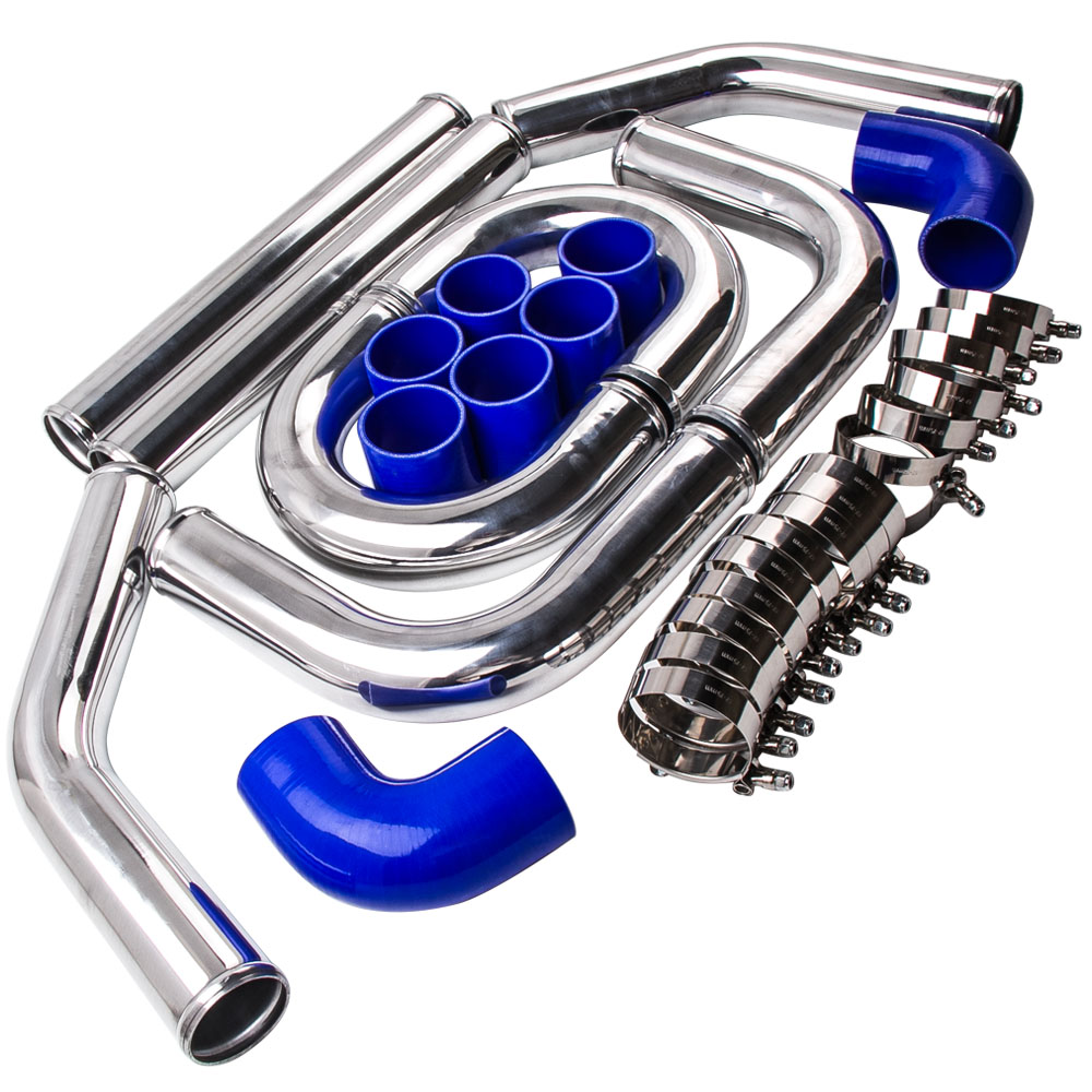2.5 64mm Aluminum Universal Intercooler Turbo Piping pipe + Blue hose Kits adjustable universal 3 air filter turbo intake pipe intercooler piping hose aluminium for ford mustang 01 07 tk af1022