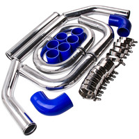 2.5 64mm Aluminum Universal Intercooler Turbo Piping pipe + Blue hose Kits