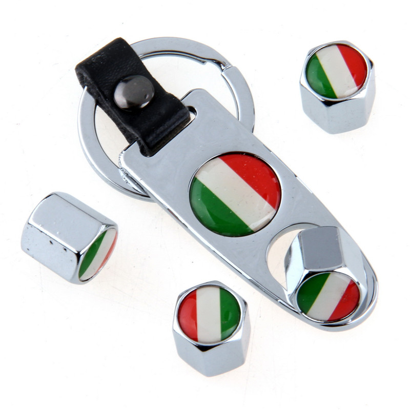 POSSBAY Car Wheel Tire Valve Caps Stem Air Cap Cover With Wrench for Audi BMW Russia UK US Italy France German Flag Air Cap