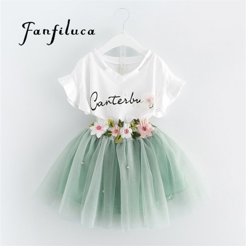 Fanfiluca 2017 Summer Girls Clothes Sweet Kid Clothes Set Letter T-shirt & Embroidered Pear Yarn Dress Lovely Princes Girls Set