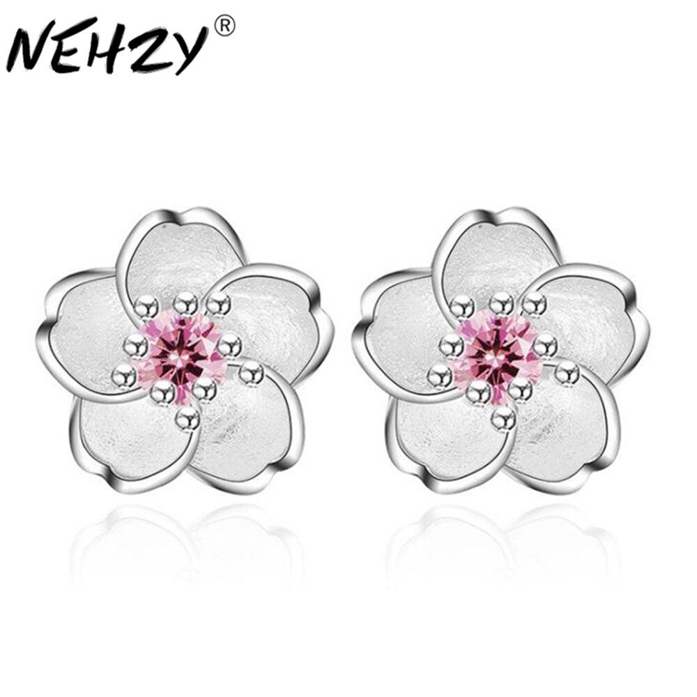 Fashion women's brand white fungus ornaments romantic cherry small clean ear nails handmade pink purple luxury zircon jewelry