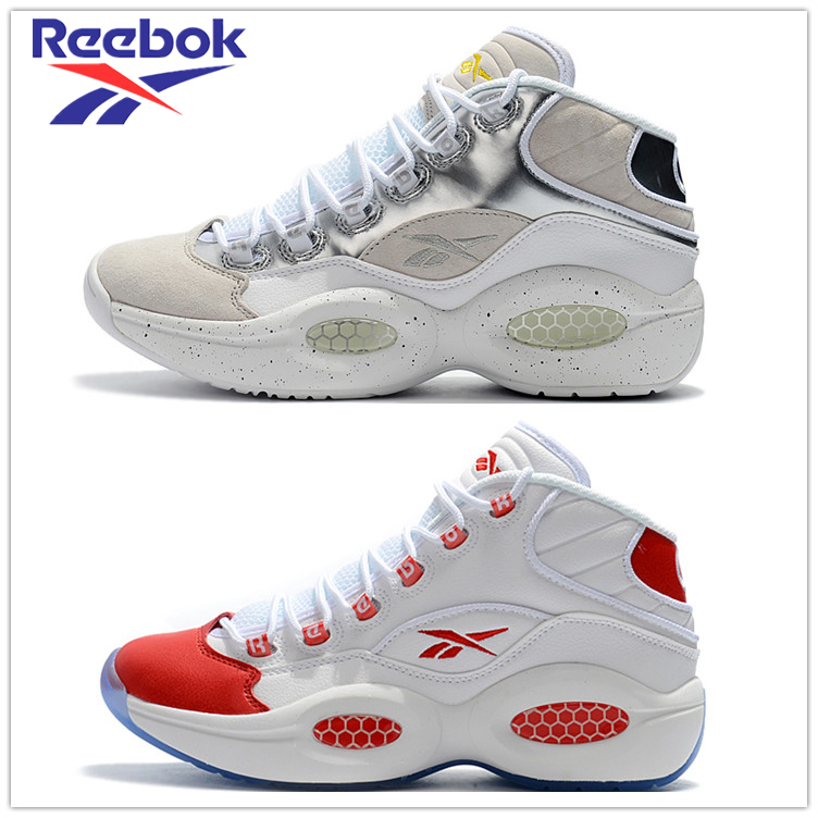 Reebok Question 1 Mid Dress Code Hexalite Hive Cushioning Suede And Leather Q1 Crystal Bottom Runner Shoes