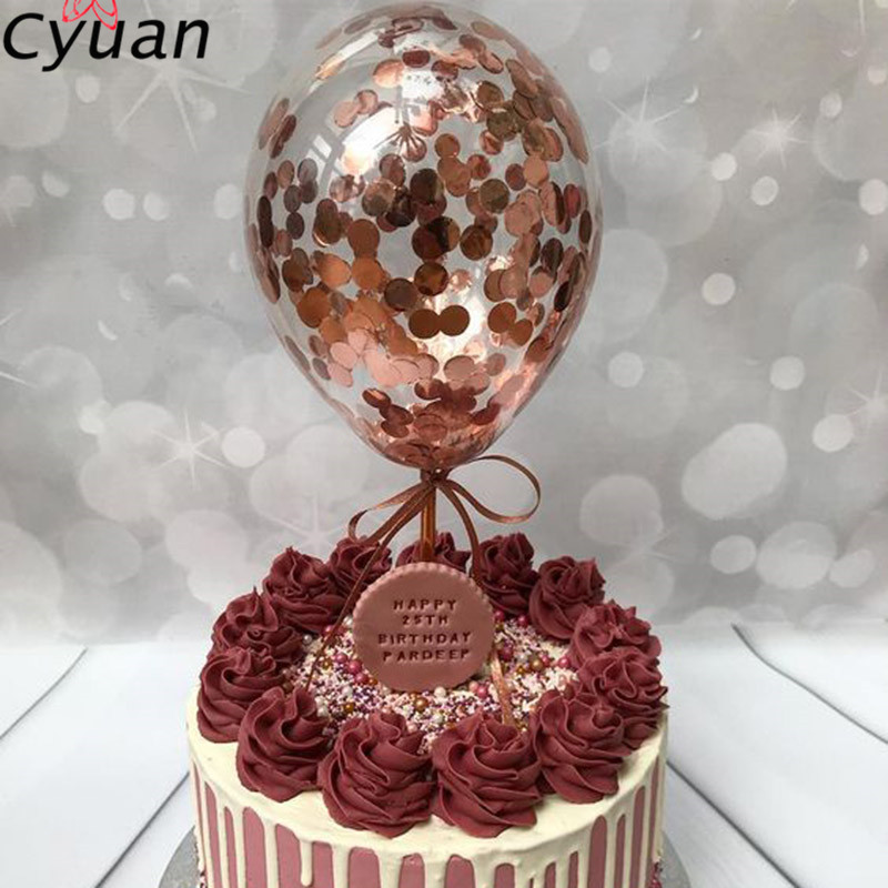 Cyuan 1Pc 5inch Balloon Cake Toppers Rose Gold Confetti ...