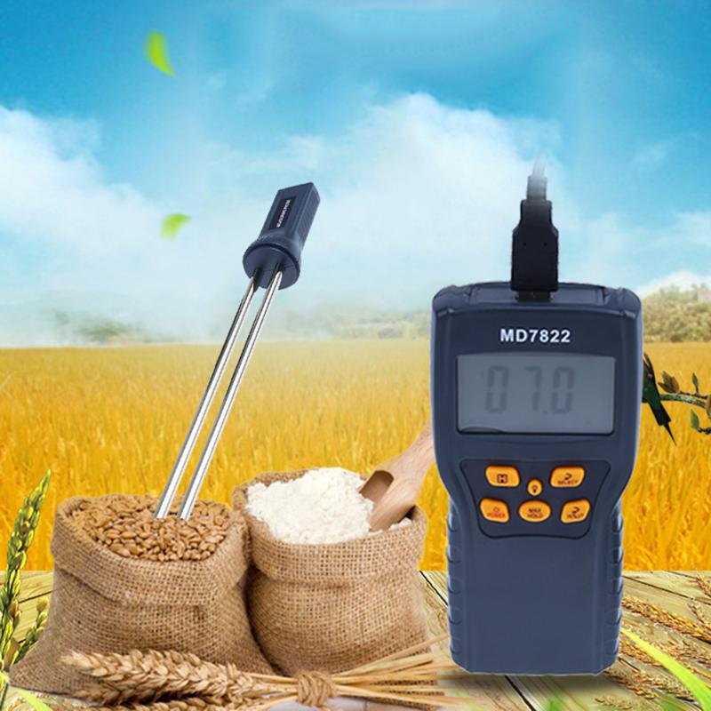 MD7822 Digital Grain Moisture Meter Thermometer for Rice Corn LCD Display Humidity Temperature Tester handheld digital grain temperature 8 20