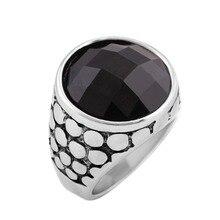 Artículo de gran oferta, anillos Punk para hombre, anillo de dedo de cristal con gema negra de acero inoxidable 316L Vintage con piedra, joyería de moda