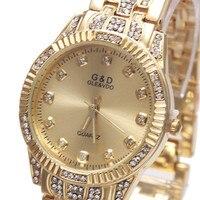 2017 New Fashion G D Brand Women Quartz Wriswatch Gold Silver Stainless Steel Belt Relojes Mujer