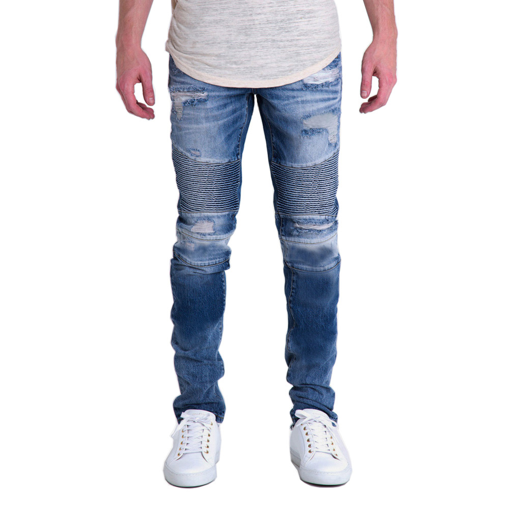 Fashion Men Jeans Designer Biker Destroyed Jeans Motorcycle Ripped Skinny Pencil Jeans Y1702 nostalgia retro design fashion men jeans european stylish dimensional knee frayed hole destroyed ripped jeans men biker jeans