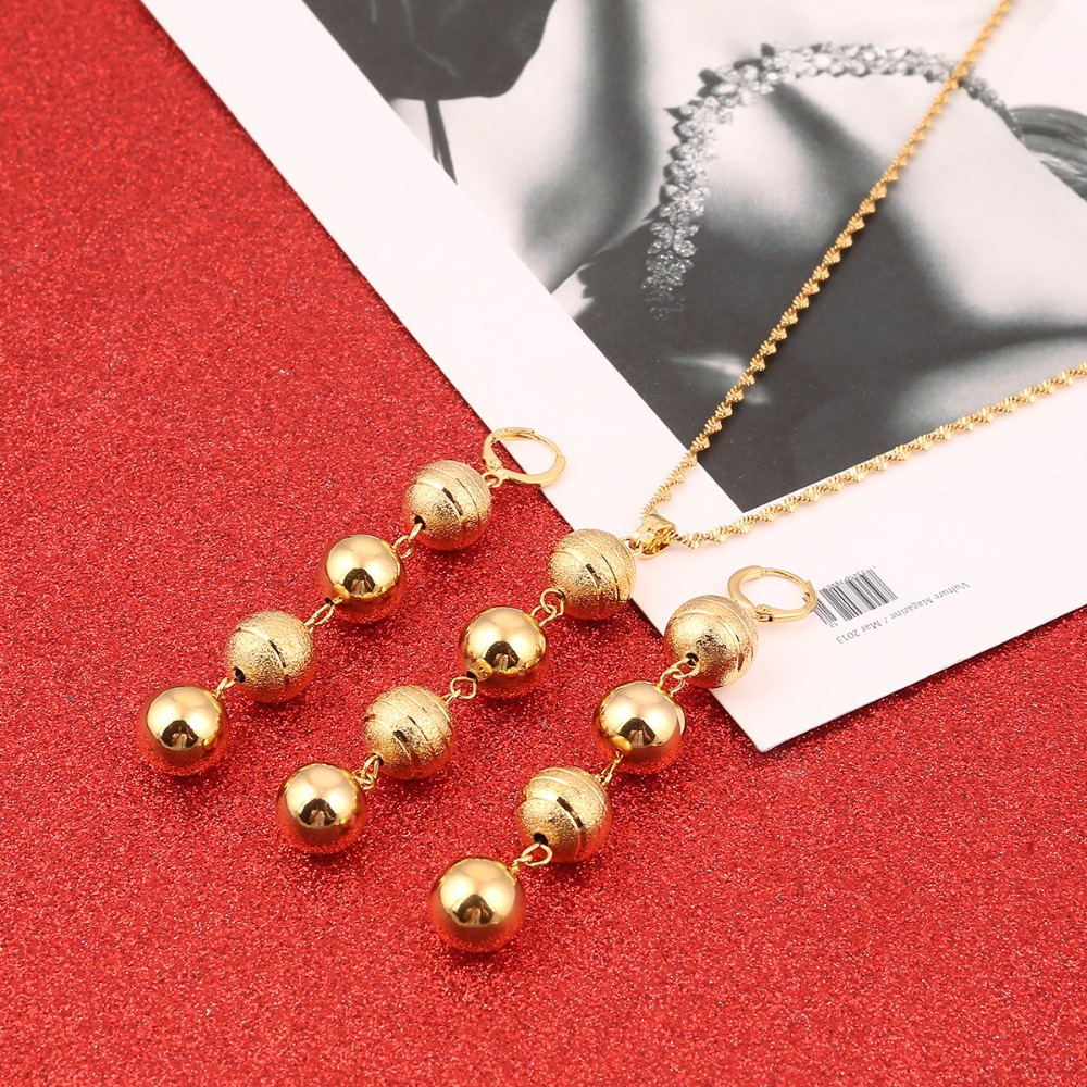 Round Ball Pendant Necklace Chain Earrings Sets Jewelry Bead Necklaces Sets For Women
