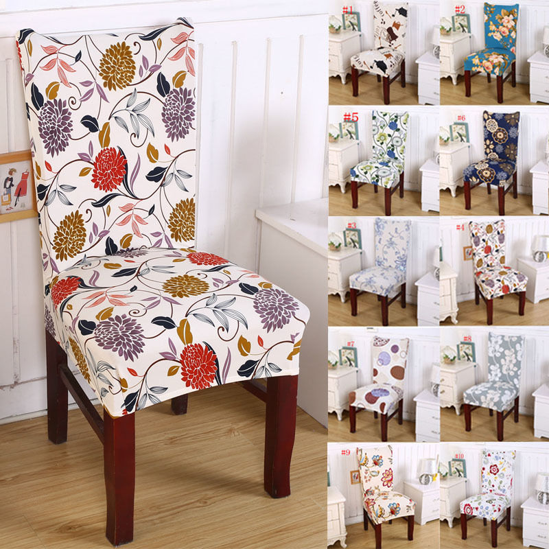 Pastoral Removable Floral Print Chair Cover Banquet Dining Room Seat Protector Slipcover Stretch Dining Chair Cover Home Decor Slipcover