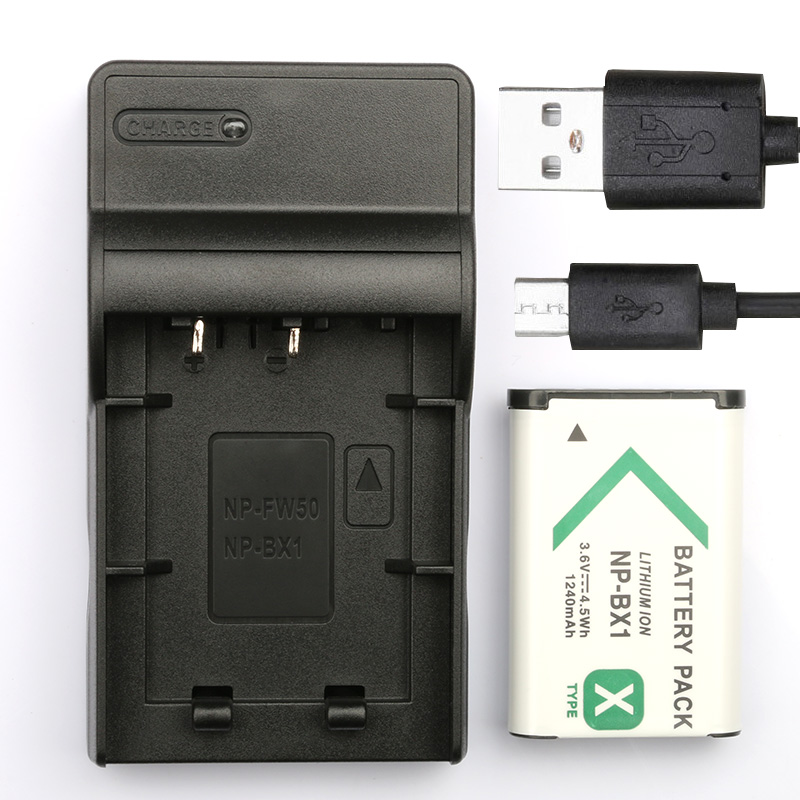 2x Battery bateria np-bx1 1000mah para Sony Cyber-shot dsc-hx60v Cargador USB