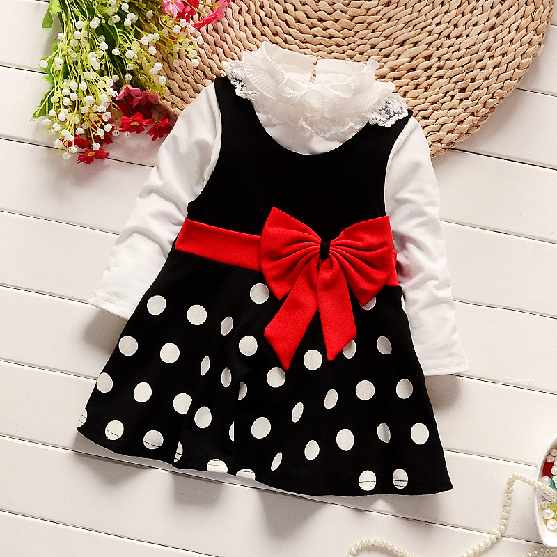 99014455a Baby Girl Dress 2017 New Casual Autumn Kids Clothes Long Sleeve Two Pieces Dress  Children clothes spring cotton dresses for girl Tags:
