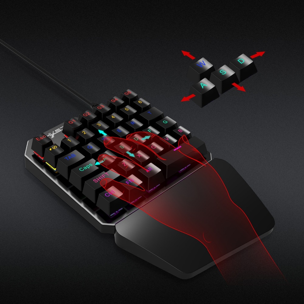2018 new 35 key Eat chicken keyboard with one hand Metal panel game keyboard for game PC