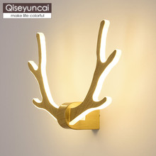 Qiseyuncai Nordic modern minimalist antler wall lamp creative aisle staircase living room bedroom bedside