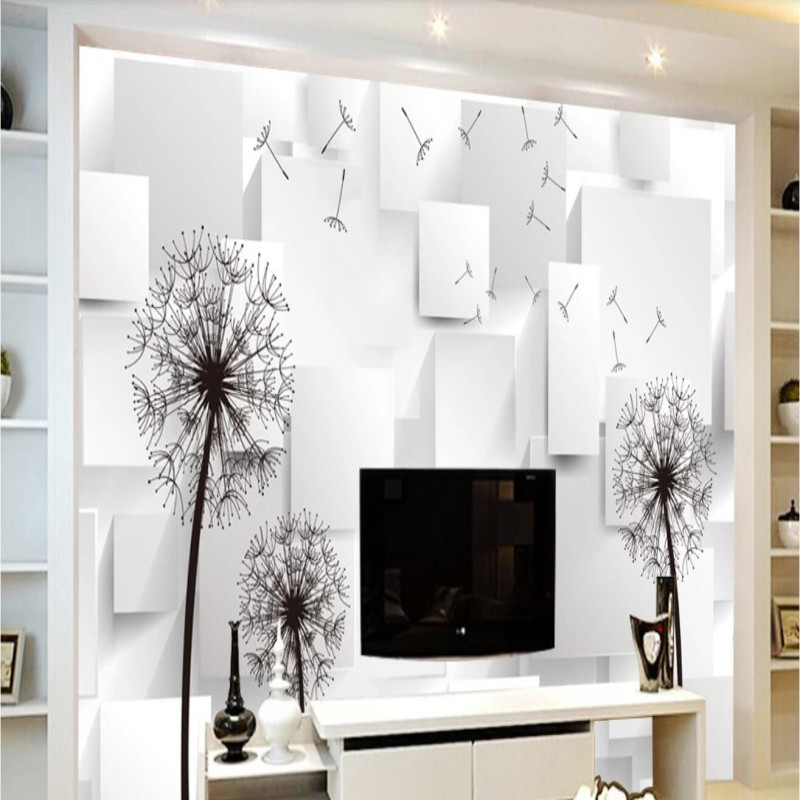 Three-dimensional square dandelion background wall painting