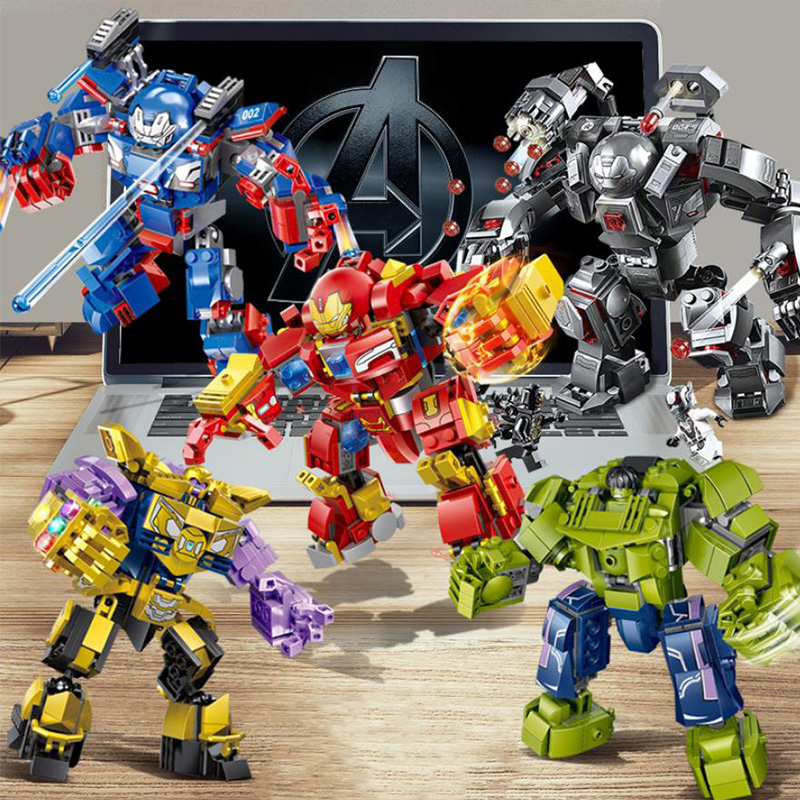 Legoinglys Marvel Avengers  Super Hero Thanos Hulk Ironman War Machine Buster Mecha Block Avenger Endgame Hulkbuster