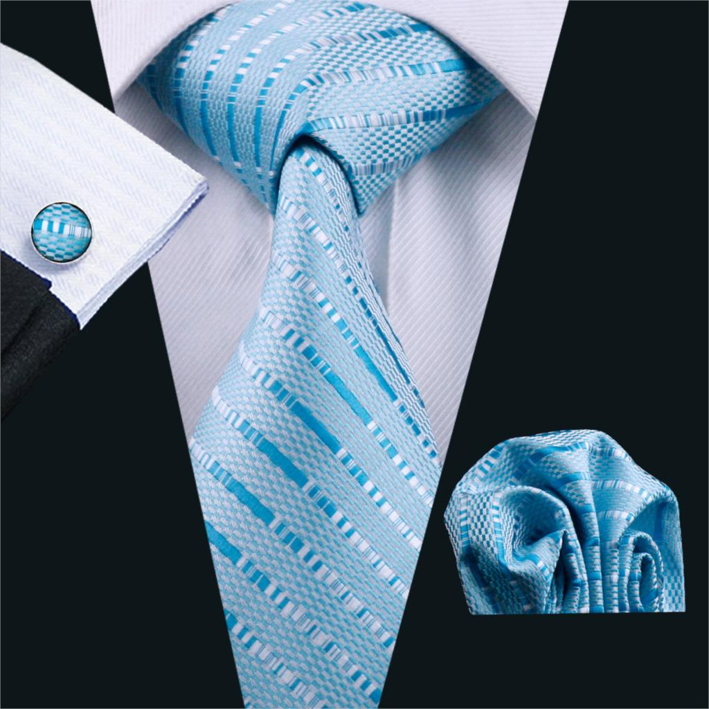 Fa-703 Ties For Men Blue Striped Silk Classic Jacquard Woven Tie Hanky Cufflinks Set For Business Wedding Party
