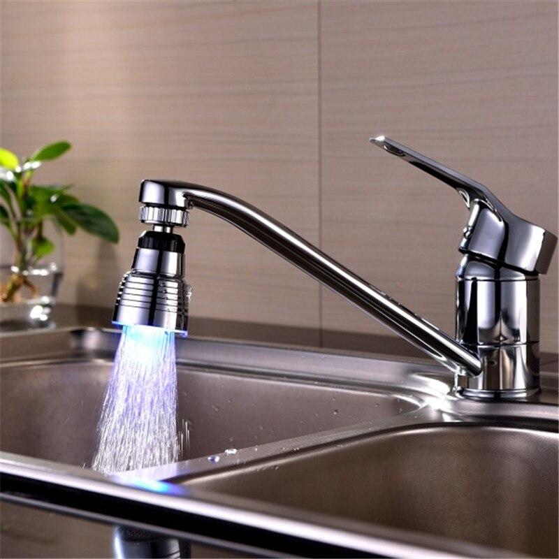 1 pc lighting 360 degree rotation New Bathroom Shower Mixer Faucet Aerator LED Light spout