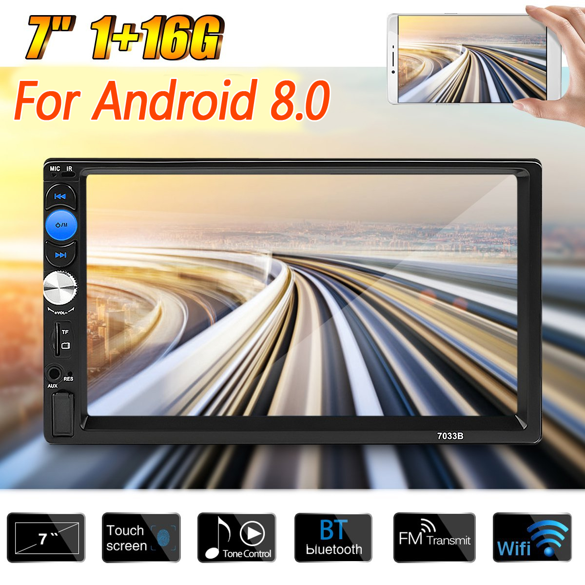 7 2 Din Quad Core for Android 8.0 Universal Car DVD Player WIFI 3G GPS Navigation Stereo Player bluetooth Radio Indash