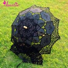 Algodão battenburg laço artesanal guarda sol e ventilador conjunto lolita gothic festa decoração masculino guarda chuva presentes ventilador de mão