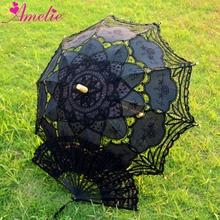 Bawełna Battenburg koronki ręcznie robione koronki Parasol i wentylator zestaw Lolita Gothic Party dekoracji mężczyźni Parasol prezenty ręcznie wentylator