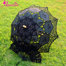 Cotton Battenburg Lace Handmade Lace Parasol and Fan Set Lolita Gothic Party Decoration Mens Umbrella Gifts Hand Fan