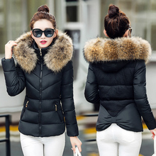2016 fashion slim bow large fur collar womens winter jackets and coats short thickening down clothing female plus size outerwear