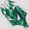 2017 Nuevas Hojas Verdes de Alta Corte de Una Pieza de Baño Mujeres Traje Femenino de Verano Beachwear Del Traje de Baño de Monokini
