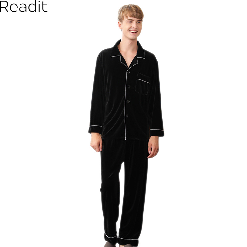 Readit Velvet Men Pajamas Sets 2017 Winter Long Sleeve Two-Pieces Turn-down Collar Warm Pyjamas 4 Colors PA2781