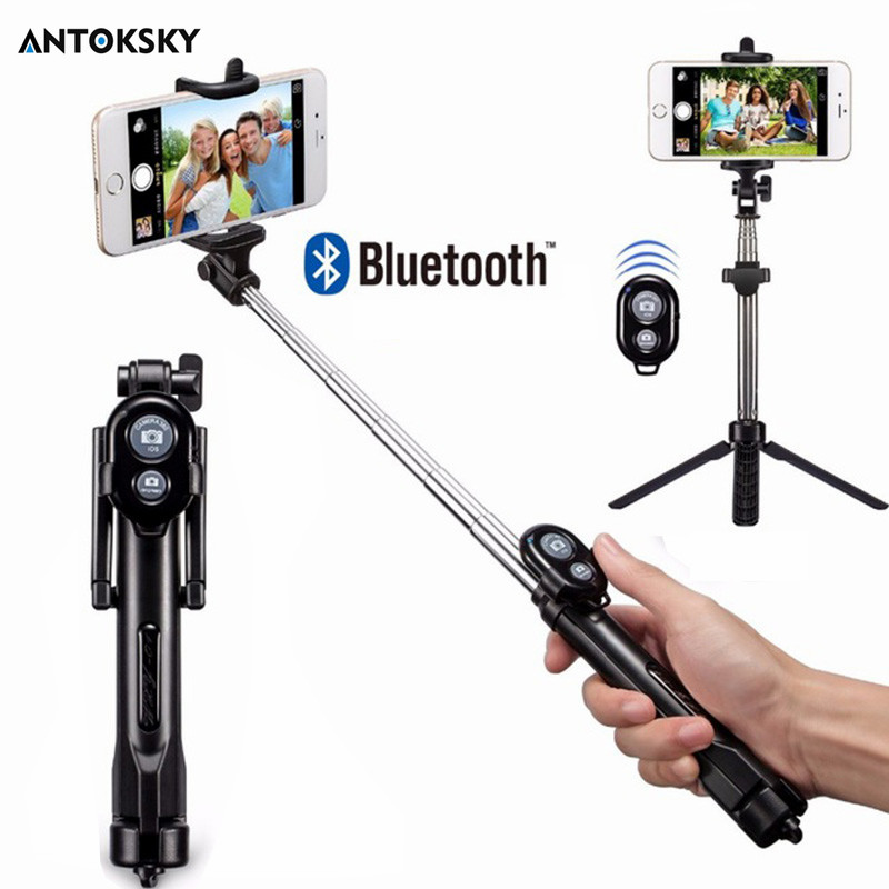 Antoksky Tripod Monopod Selfie Stick Bluetooth With Button Selfie Stick For Android OS For Iphone 6 7 8 Plus IOS