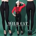 2016 primavera nova chegada do Vintage cintura elástica ultra high espessamento adicionar veludo apertado - montagem quadril calças lápis fino inverno