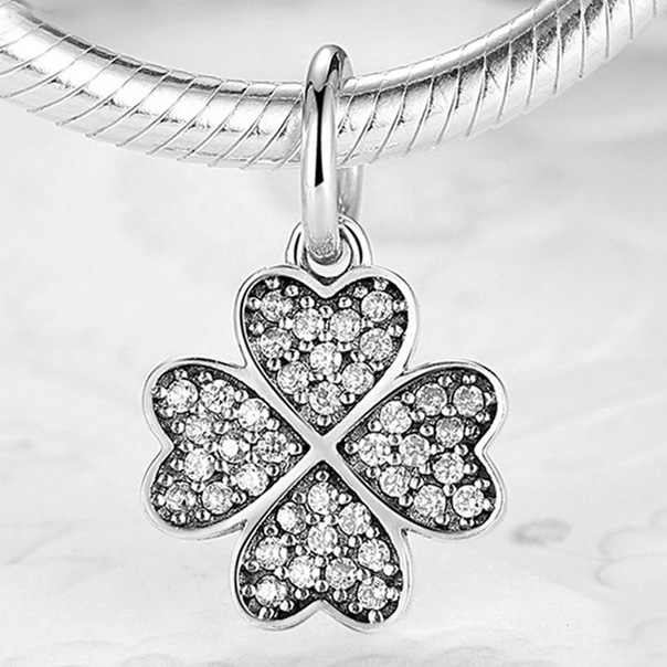 925 Sterling Silver Bead Charm Lucky In Love Clover Pave Clear CZ Pendant Bead Fit Pandora Bracelet & Necklace DIY Jewelry