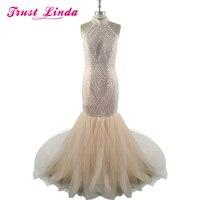 Luxus Perle Champagnerfarbig Brautkleider Meerjungfrau 2017 Robe De Bal De Finissant Kleid-partei-abend Türkische Lange Abendkleider