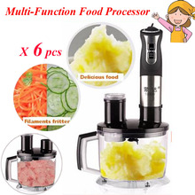 6pcs/lot Multi-Function Food Processor Electric Blender Stainless Steel Meat Grinder Fruit Milk Shake Mixer M-12