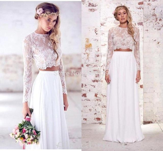 2017 Elegant Long Sleeve Two Pieces Lace A Line Wedding Dress White/Ivory Custom Made Bridal Gown Robe De Mariage