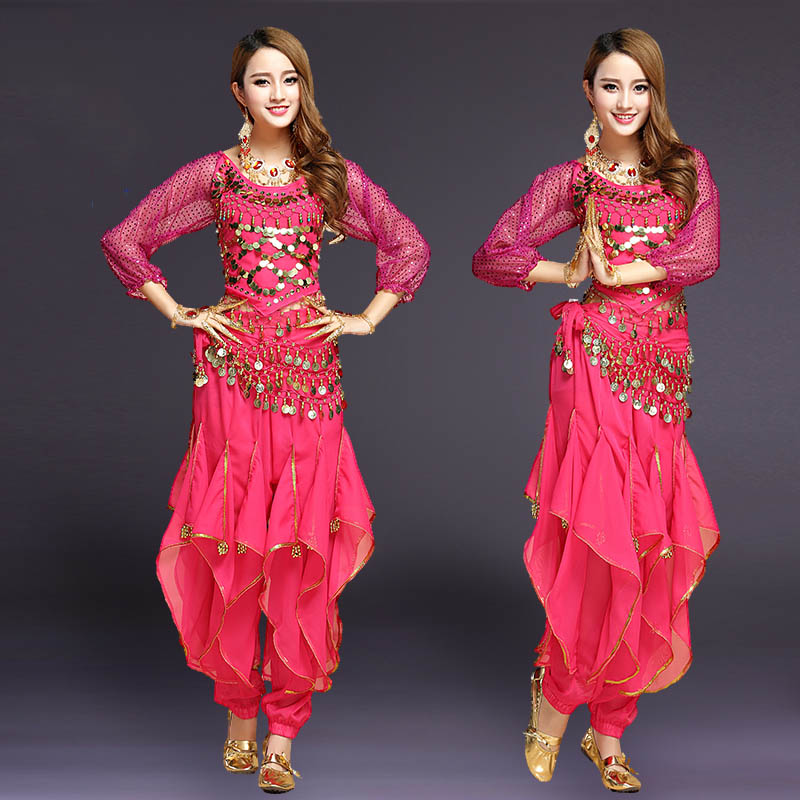 Women Belly Dance Costumes New Fashion Long Sleeve Bellydance Pants Top Indian Dance Costumes Female Adult Costumes DN1198