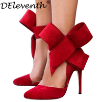 Fashion Women S Shoes Ladies Pointed Toe Oversized Bow Muleshoe Thin Heels High Heeled Shoes Single