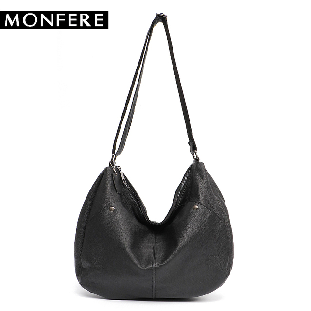 9a7268c75a MONFERE Real Cow Leather Ladies handbags Women Genuine Leather Luxury  Shoulder Crossbody Bags Hobos Causal Messenger Bags Purse