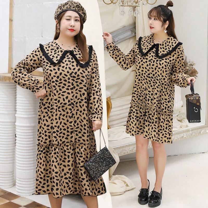2019 printemps nouvelles robes léopard femmes douce grande taille 4xl mode dames robe volants femme mode robe de haute qualité