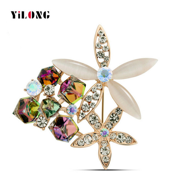 2016 Fashion High Quality Opal Stone Colorful Crystal Lovely Design Flower Garland Wedding Brooch Pin Women Charm Jewelry