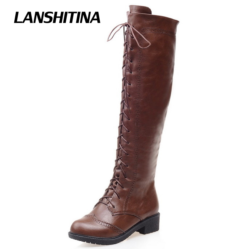LANSHITINA Women Kneed Boots Motocycle Shoes Winter Autumn Cool Boot Female Quality Fashion Riding Round Toe