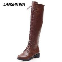 Lanshitina/женские коленками сапоги мотоциклетные туфли зима-осень круто загрузки женский качество модные сапоги для верховой езды круглый носок; bota; G122