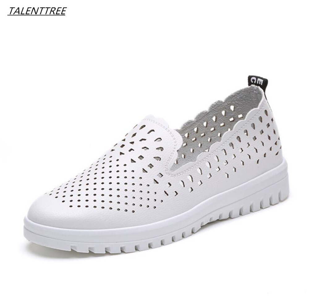 New women casual white flat shoes woman Hollow out breathable Flats loafers slip on femme Single shoes zapatos mujer 35-40 size 2017 hot fashion loafers women casual shoes new breathable mesh flat platform women comfortable wedges heels shoes zapatos mujer
